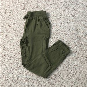 Army green parachute pants